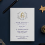 monogrammed themed wedding invitation