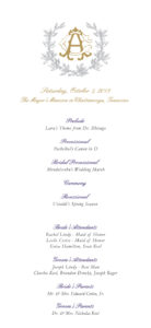 floral themed wedding program front