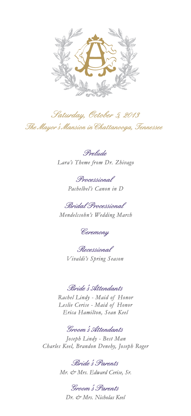 floral themed wedding program front