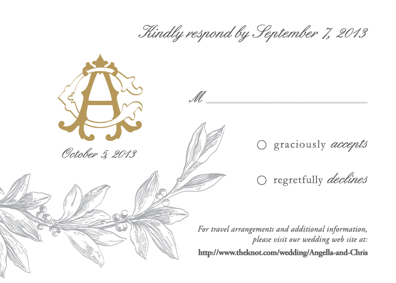 monogram themed wedding rsvp postcard