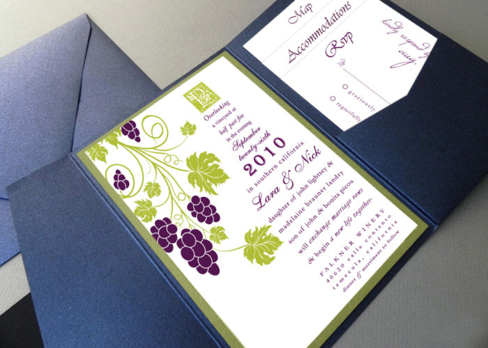 vineyard wedding invitation set