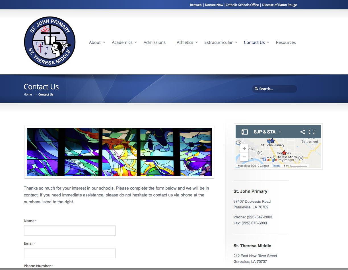 web development private catholic school St. Theresa & St. John Primary