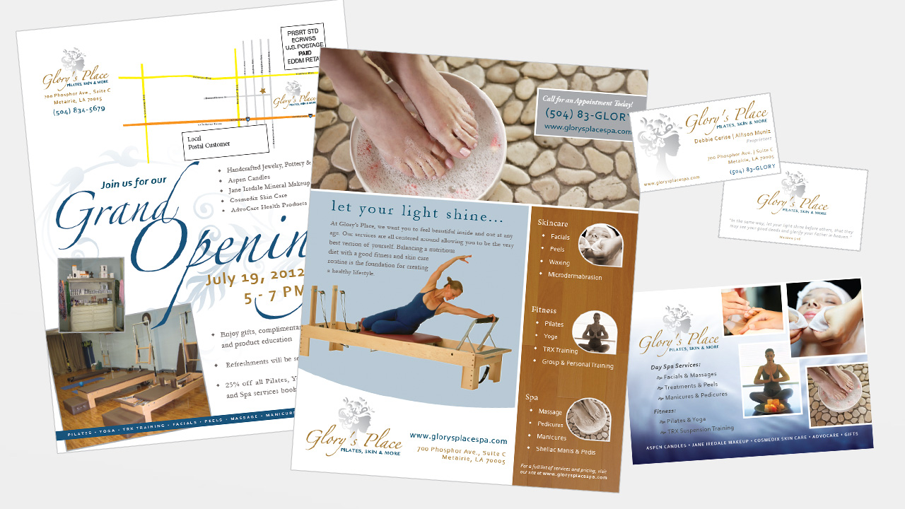 branding print collateral for pilates & day spa