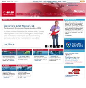 BASF intranet screenshot of redesign
