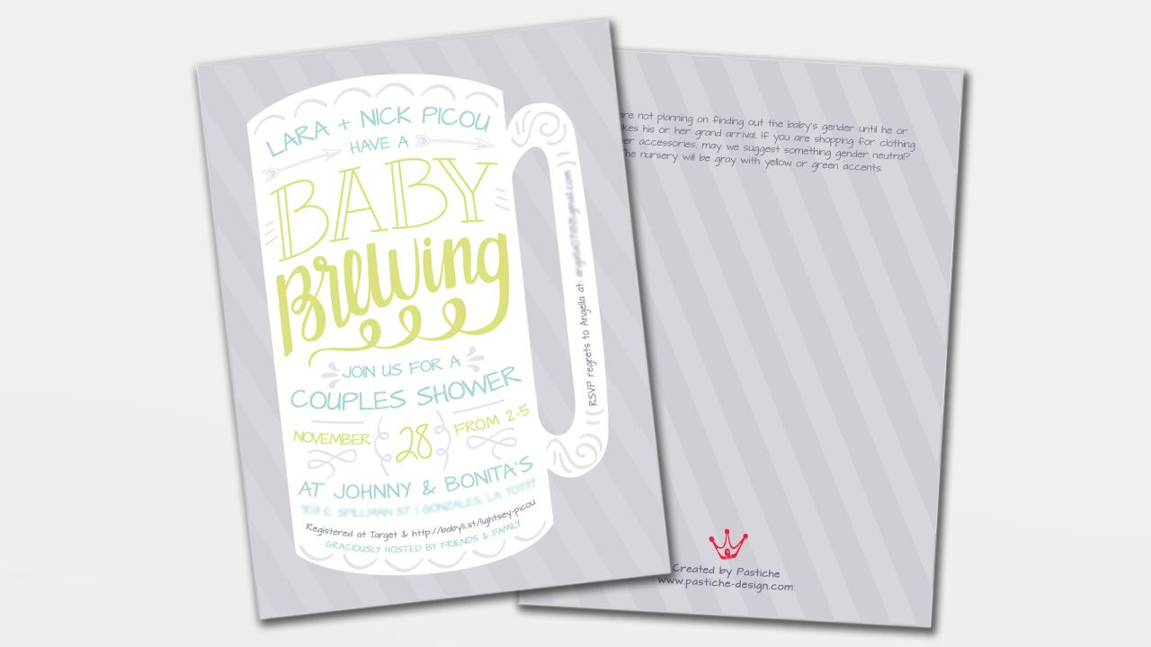 beer brewing theme baby shower invitation