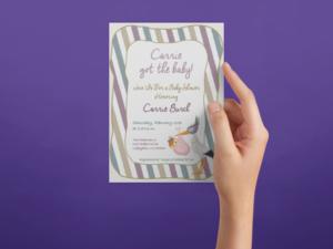 baby shower invite mardi gras theme
