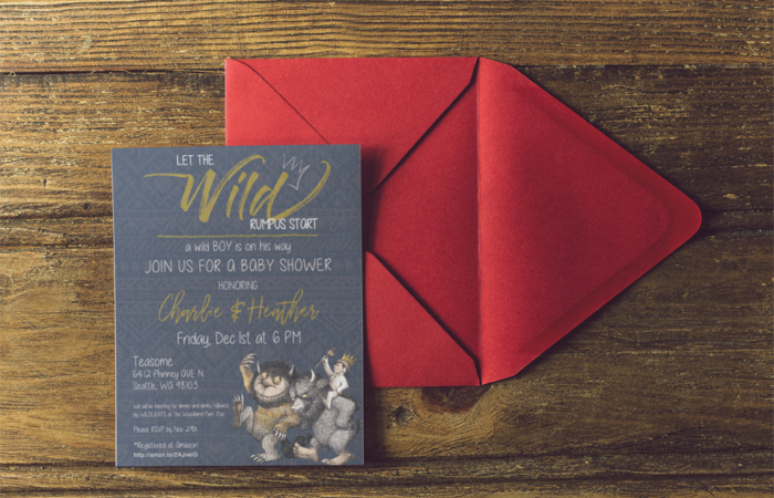 baby shower invite where the wild things are theme