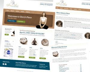 Glory's Place Web site screen shots